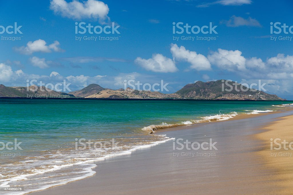St Kitts from a beach on Nevis stock photo