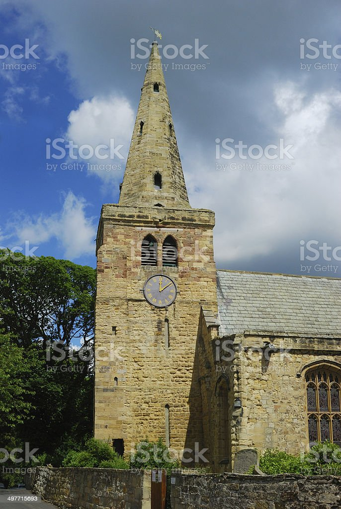 St. Lawrence church and spire at Warkworth stock photo