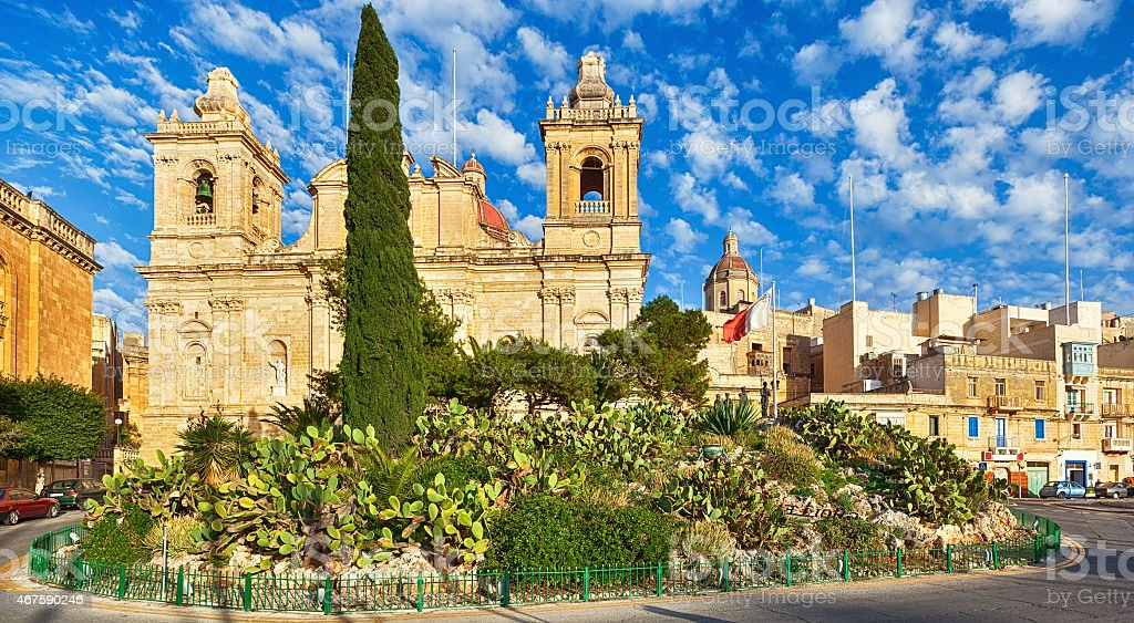 St. Lawrence church in Birgu, Malta stock photo