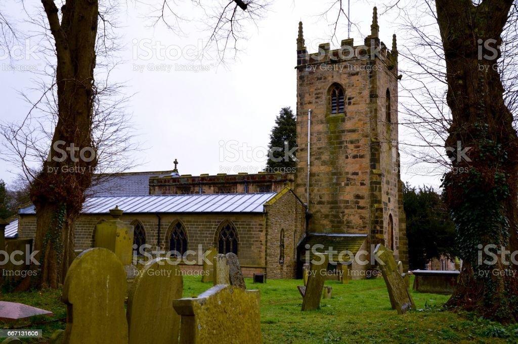 St. Lawrence's Church, Eyam, Derbyshire stock photo