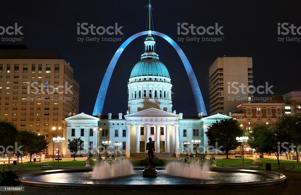 St. Louis Arch and Capitol Building at night stock photo