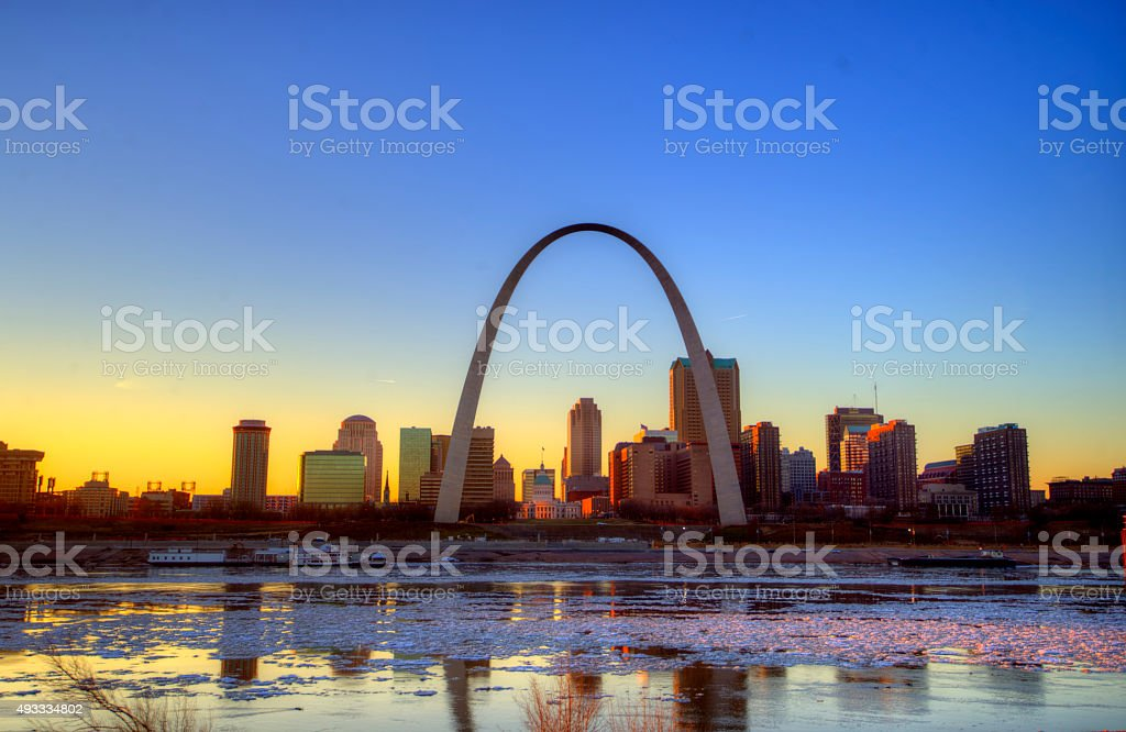 St. Louis Arch and Skyline stock photo