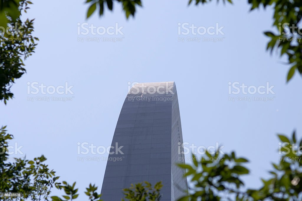 St. Louis Arch framed by leaves stock photo