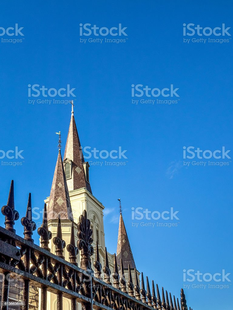 St. Louis Cathedral and Fence stock photo
