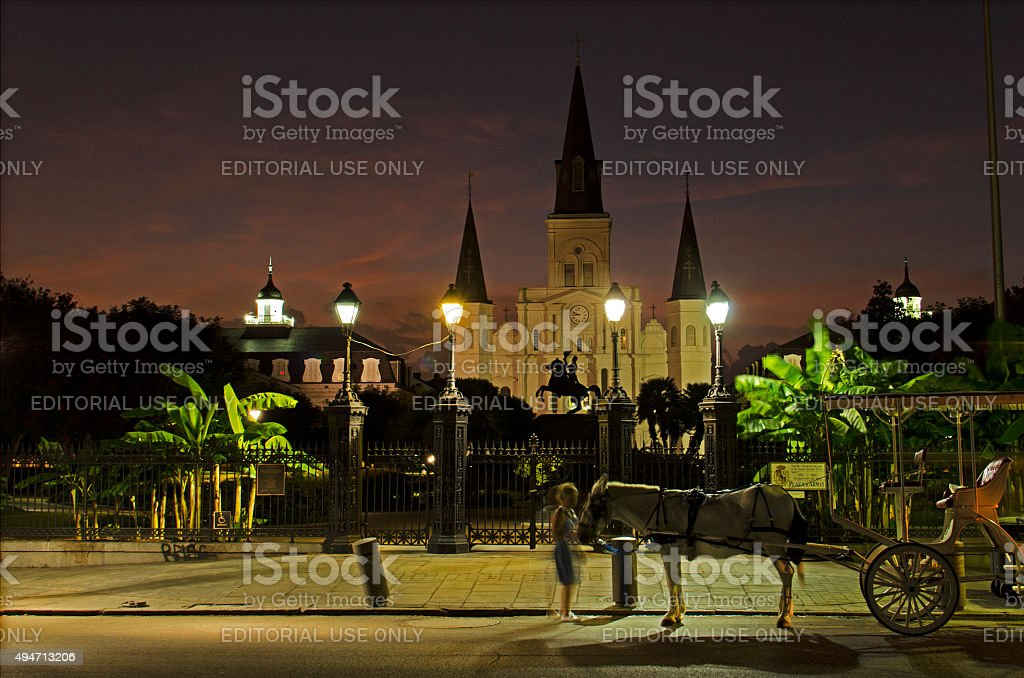 St Louis Cathedral and Jackson Square in New Orleans, Louisiana. stock photo