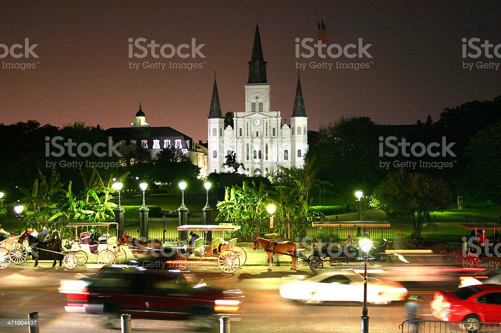 St. Louis Cathedral at Night stock photo