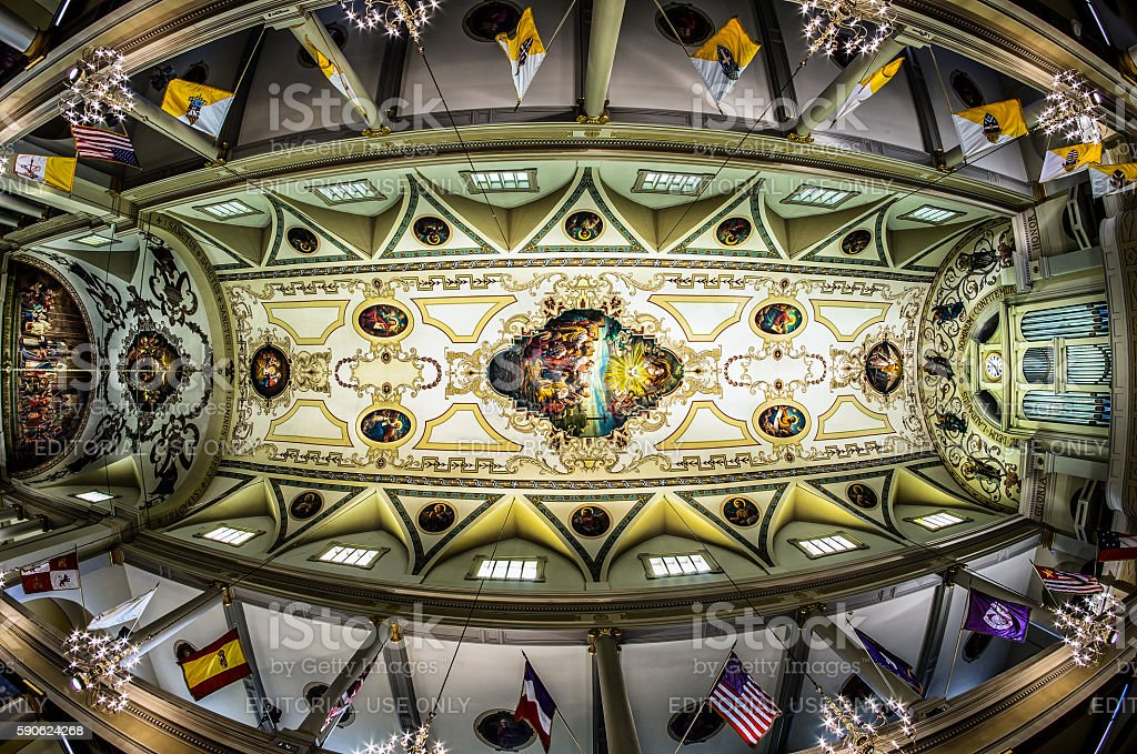 St. Louis Cathedral Ceiling Fisheye View stock photo