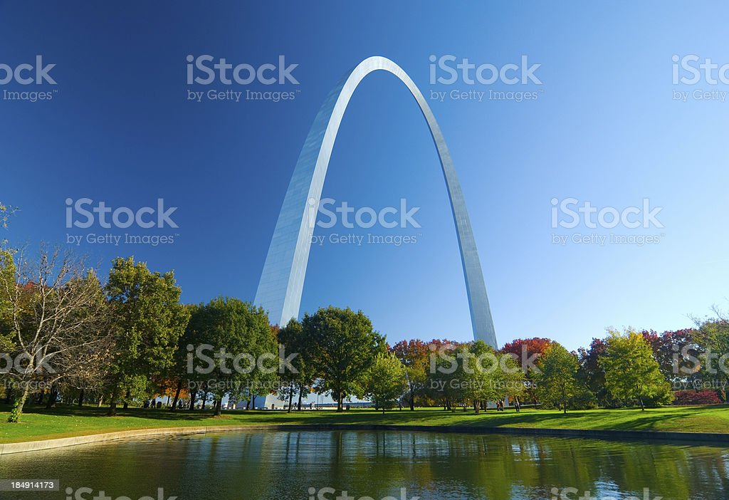 St. Louis Gateway Arch and Lake stock photo