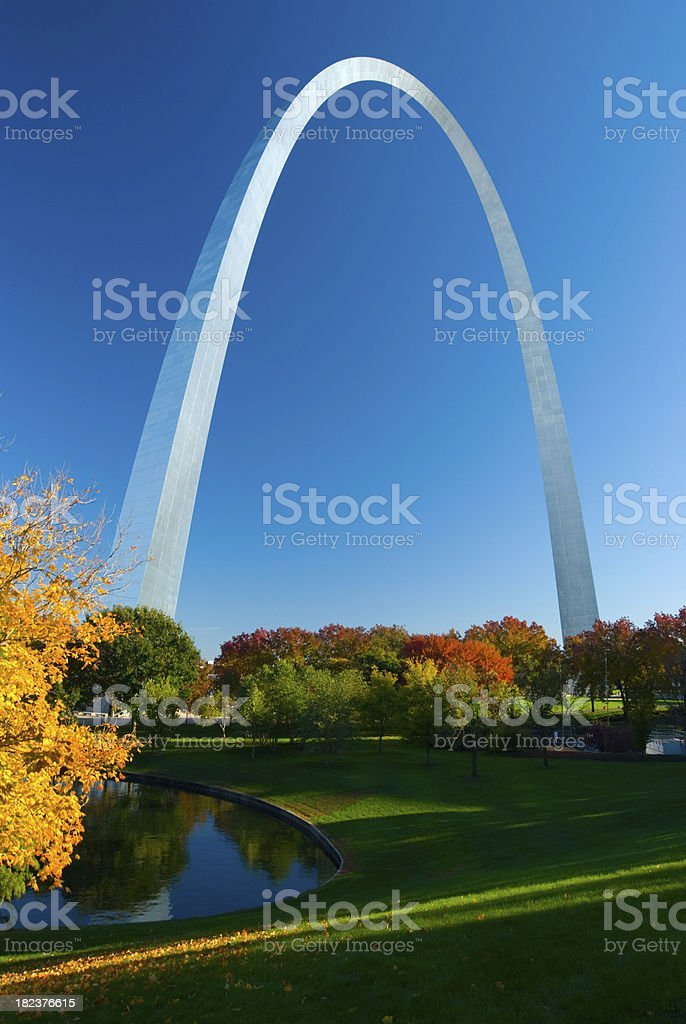 St. Louis Gateway Arch during Fall stock photo