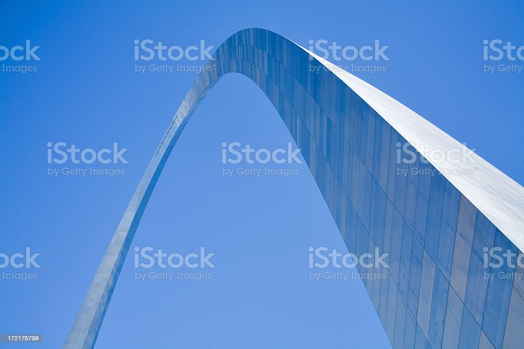 St Louis Gateway Arch on a blue background stock photo