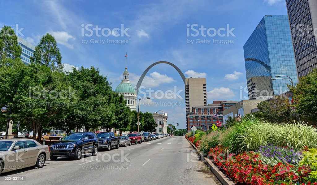 St. Louis, Missouri and Gateway Arch stock photo