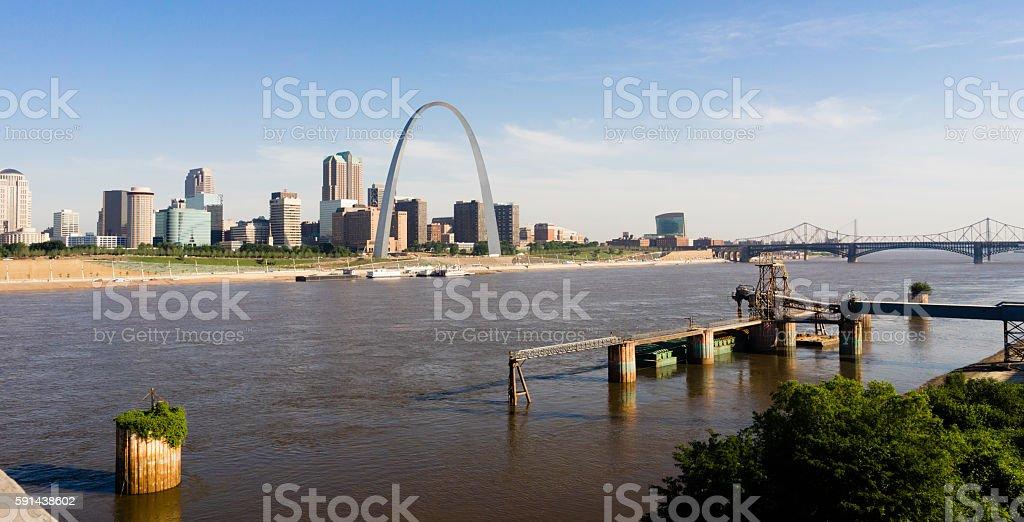 St Louis Missouri Downtown City Skline Arch Gateway West stock photo