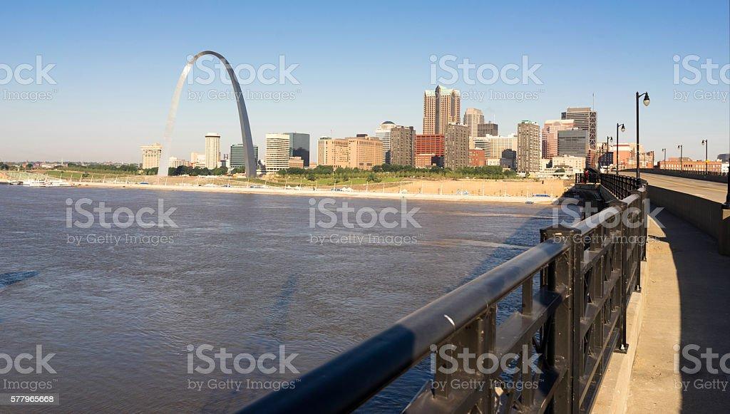 St Louis Missouri Downtown City Skyline Arch Gateway West stock photo