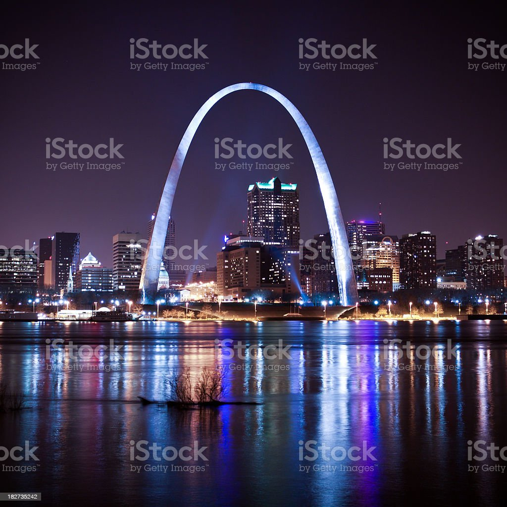 St. Louis skyline and arch at night stock photo