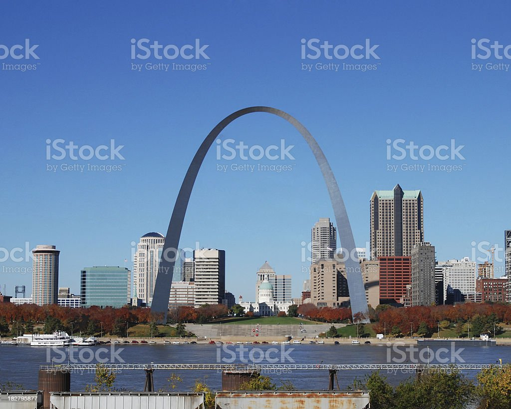 St louis Skyline with Arch stock photo