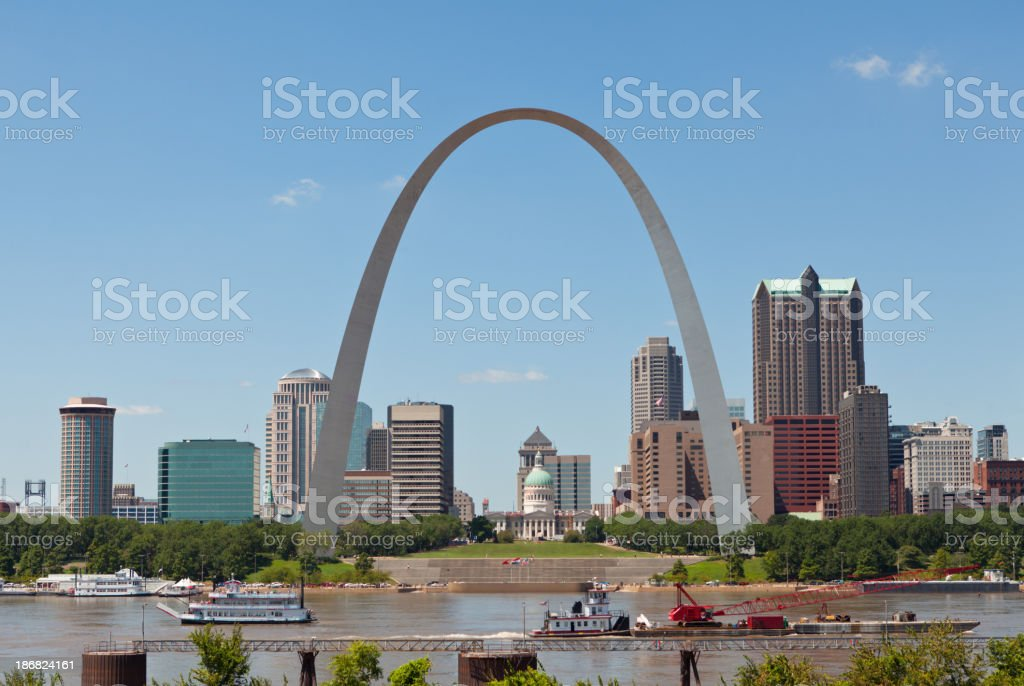 St. Louis Skyline with the Gateway Arch stock photo