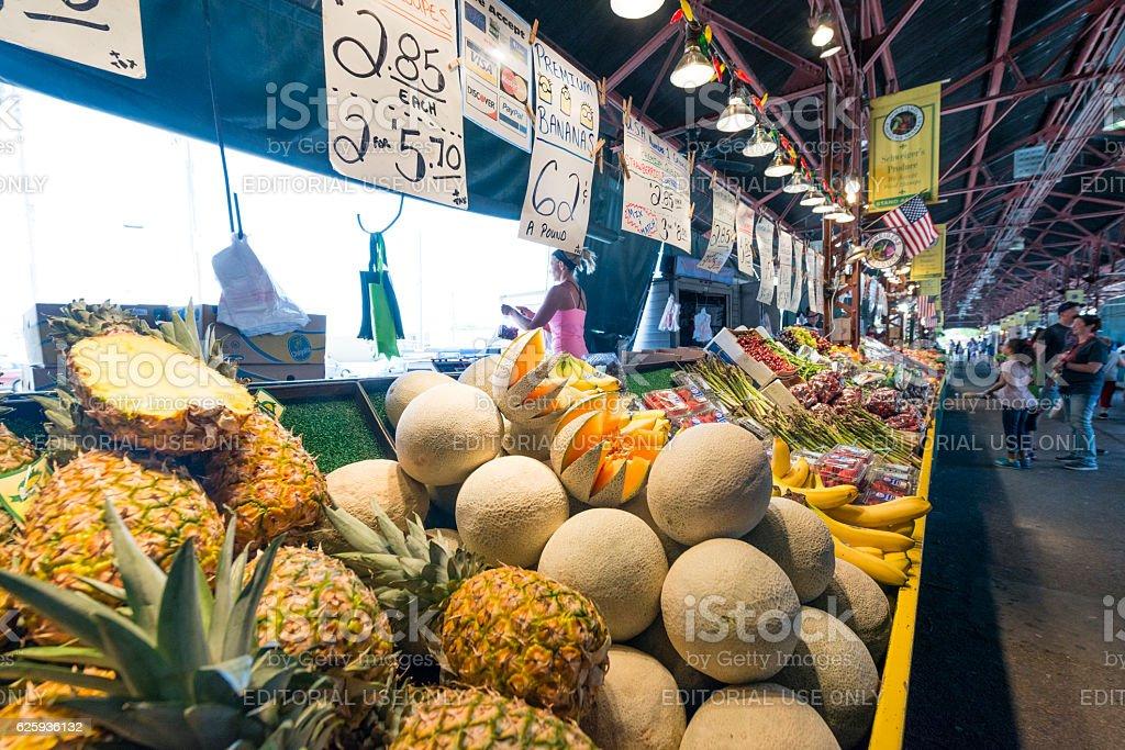 St Louis Soulard Farmers Market Aisle of Fruit For Sale stock photo