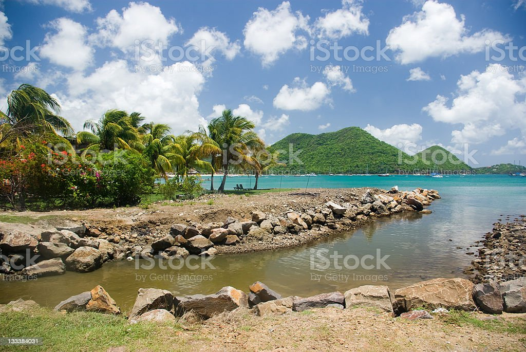 St Lucia - beautiful tropical summer beach stock photo