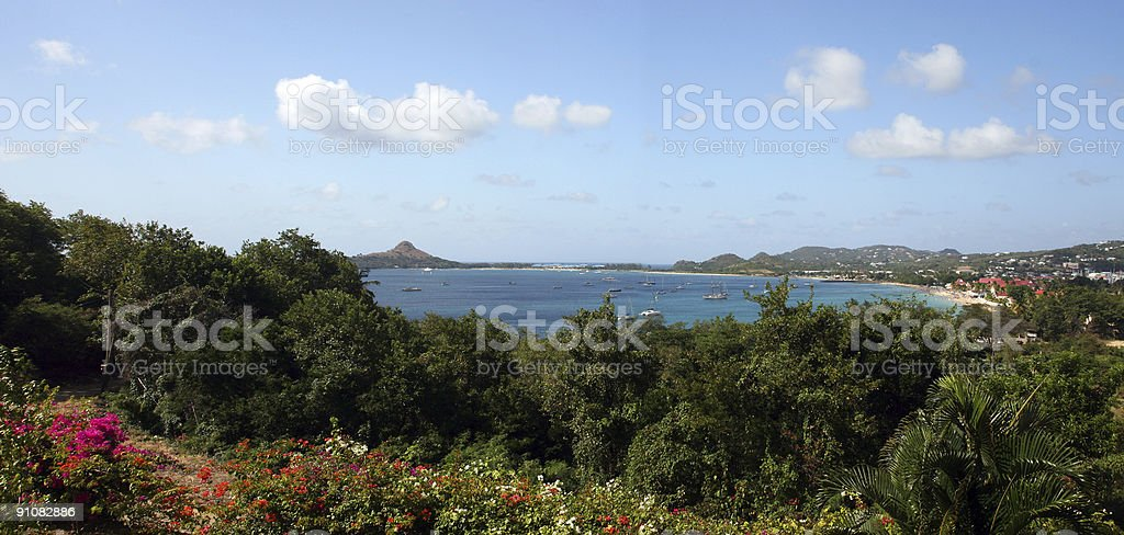 St. Lucia Panorama in Caribbean stock photo