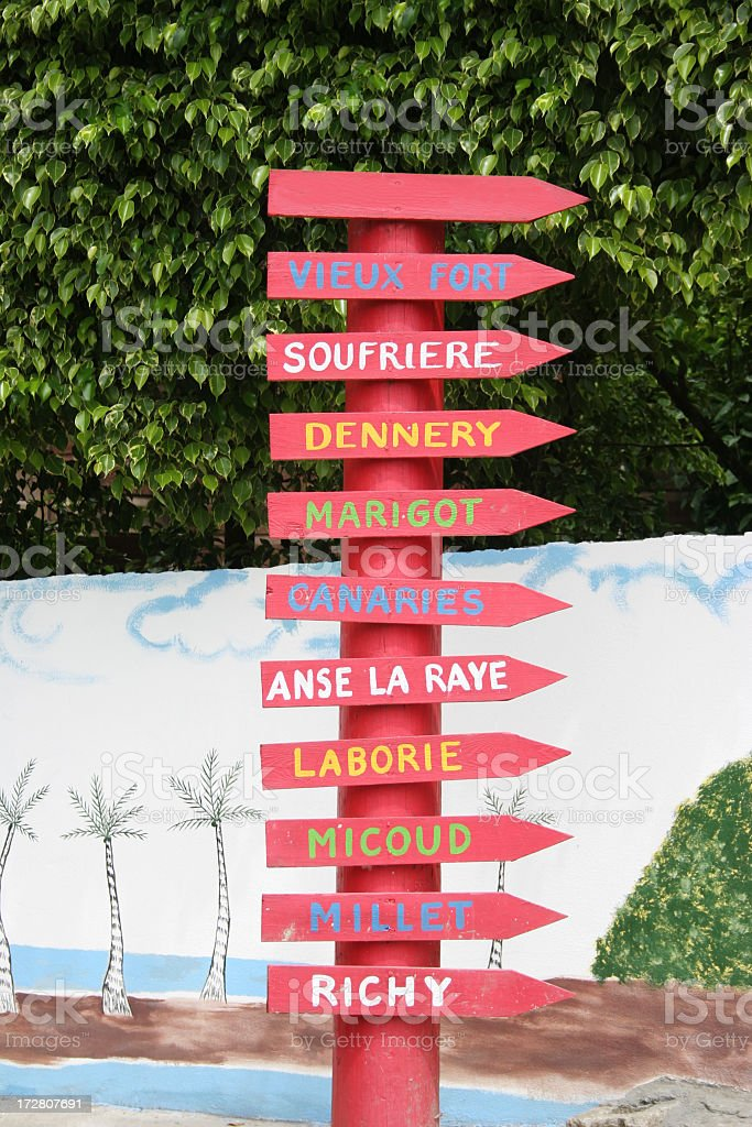 St Lucia signs stock photo