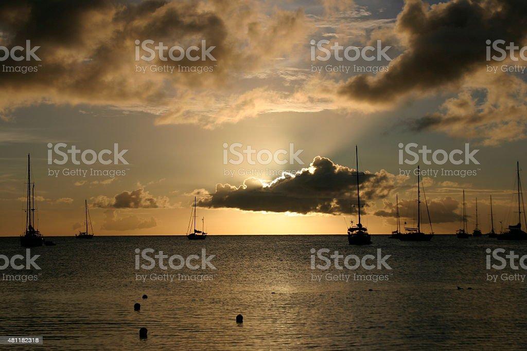 St Lucia Sunset stock photo