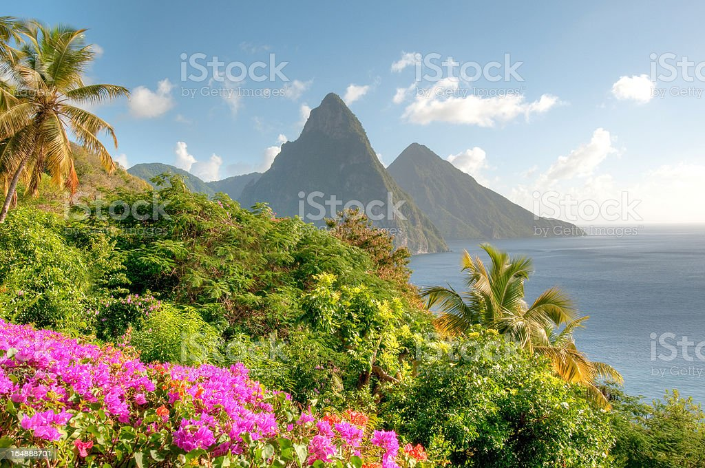 St. Lucia's Twin Pitons at Sunrise stock photo