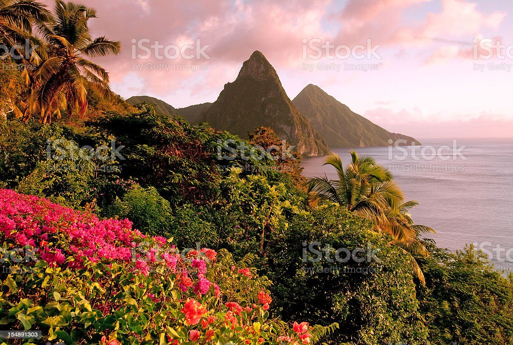 St. Lucia's Twin Pitons at Sunset stock photo