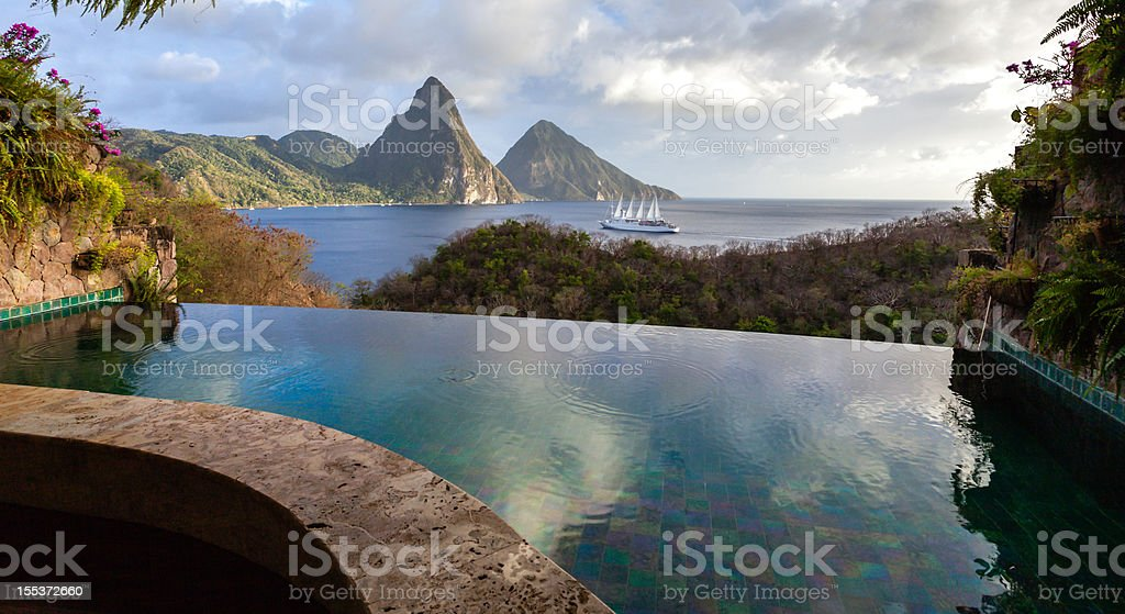 St. Lucia's Twin Pitons from Jade Mountain royalty-free stock photo