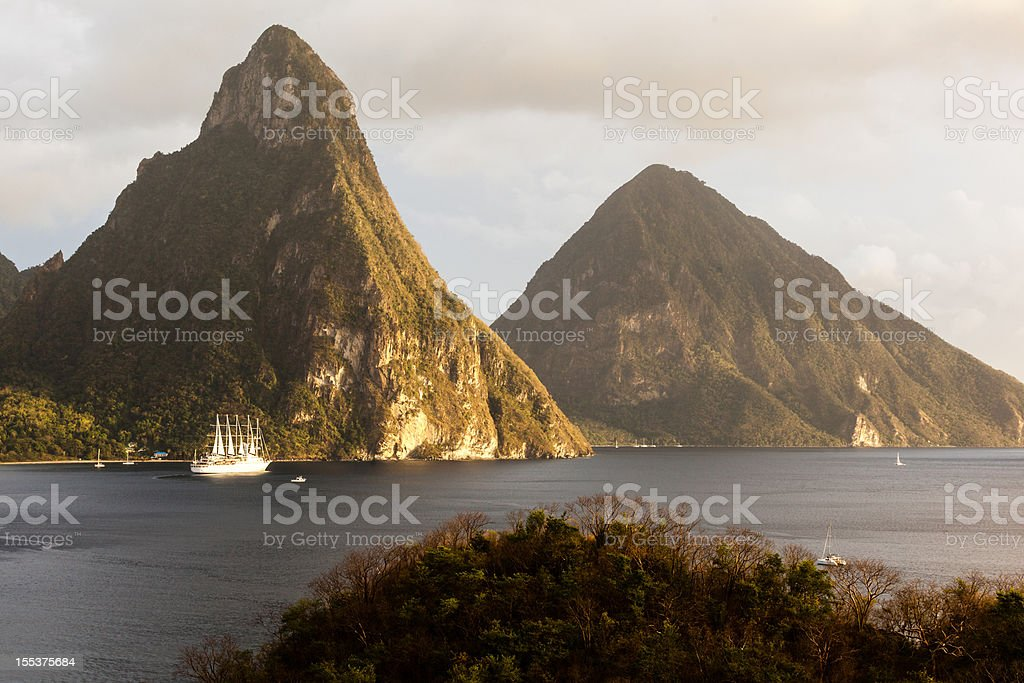 St. Lucia's Twin Pitons stock photo