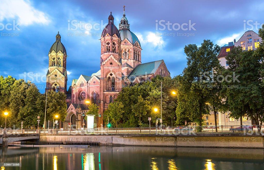 St. Lukas pink church Munich stock photo