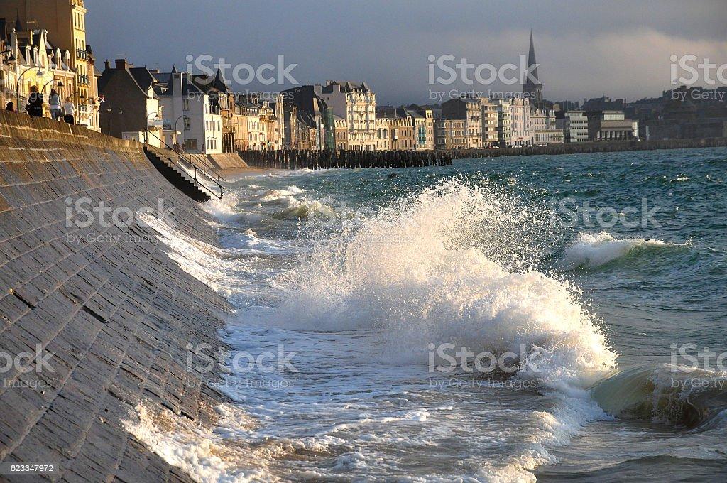 St Malo Stadtmauer stock photo