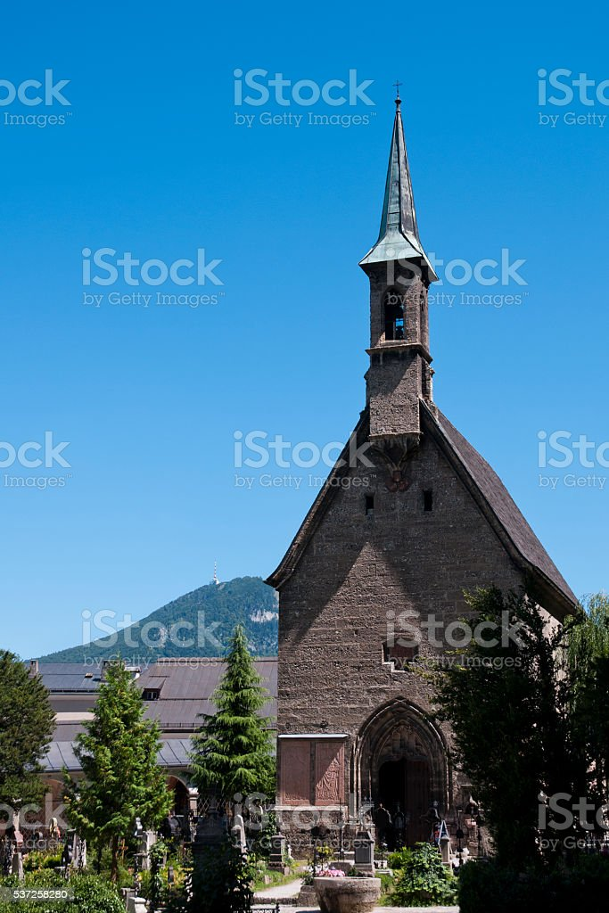 St Margaret chapel and St Peter cemetery stock photo