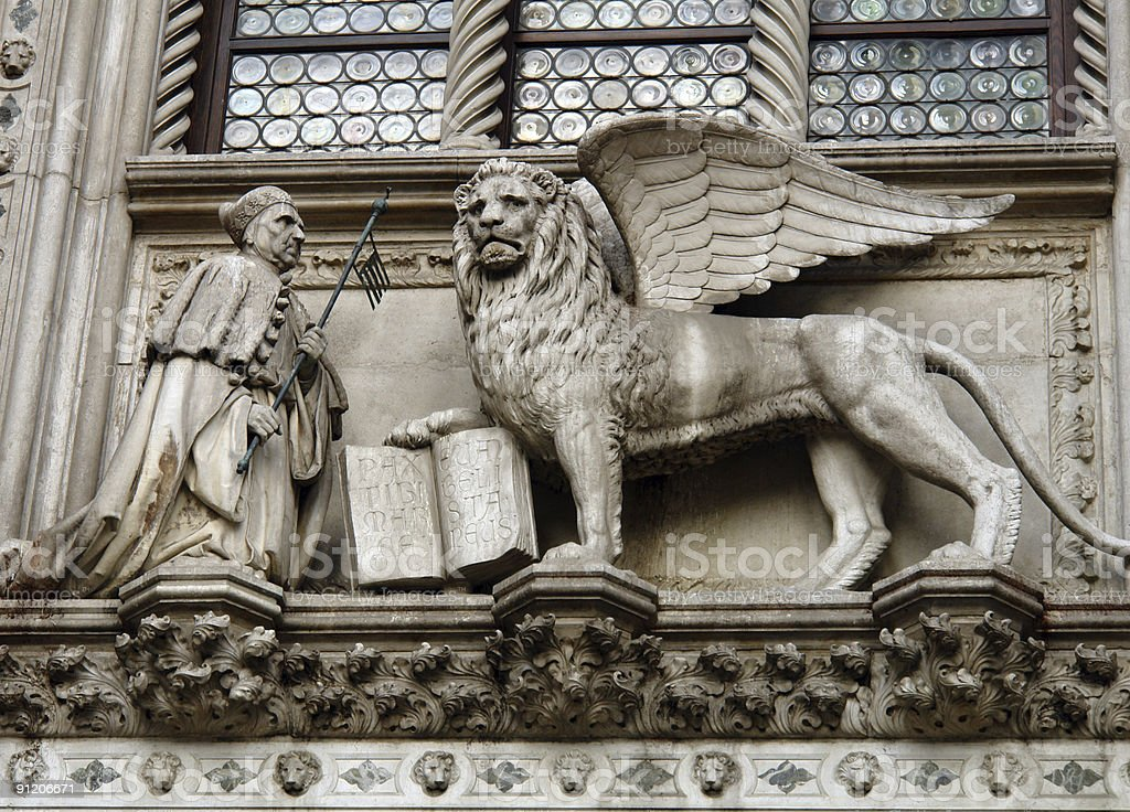 St Mark (Evangelist) and the winged lion stock photo