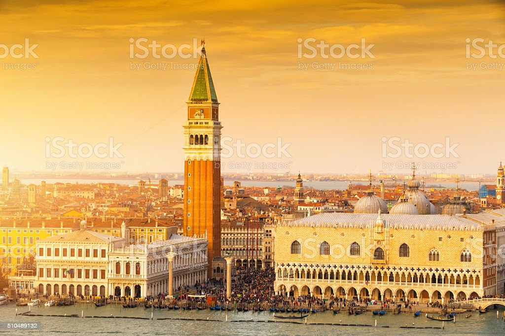 St Mark's Campanile at sunset, Venice, Italy stock photo