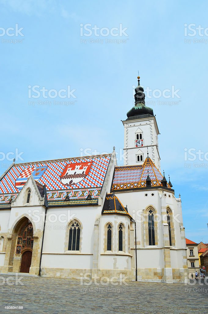 Iglesia St Mark's en zagreb foto de stock libre de derechos