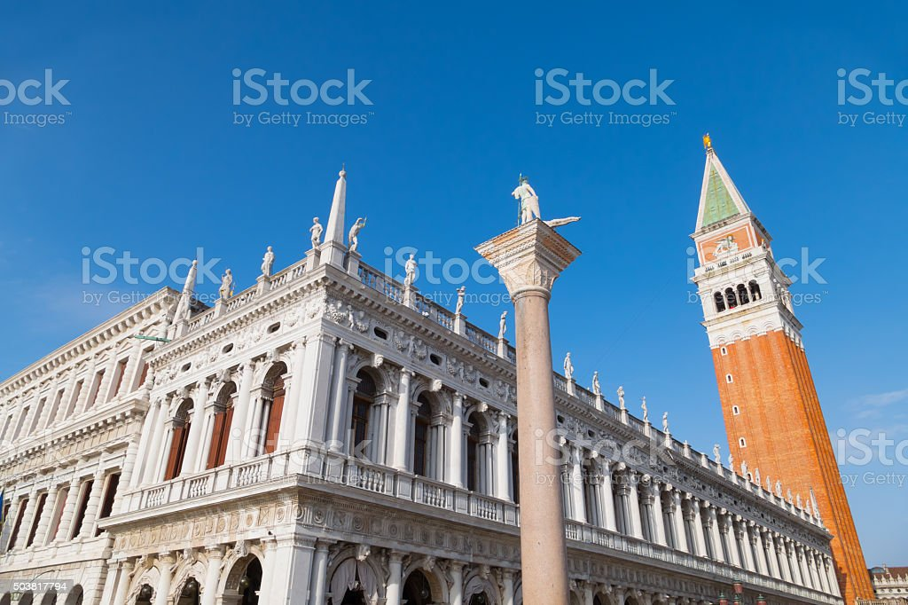 St. Mark's square and the Bell tower by day stock photo