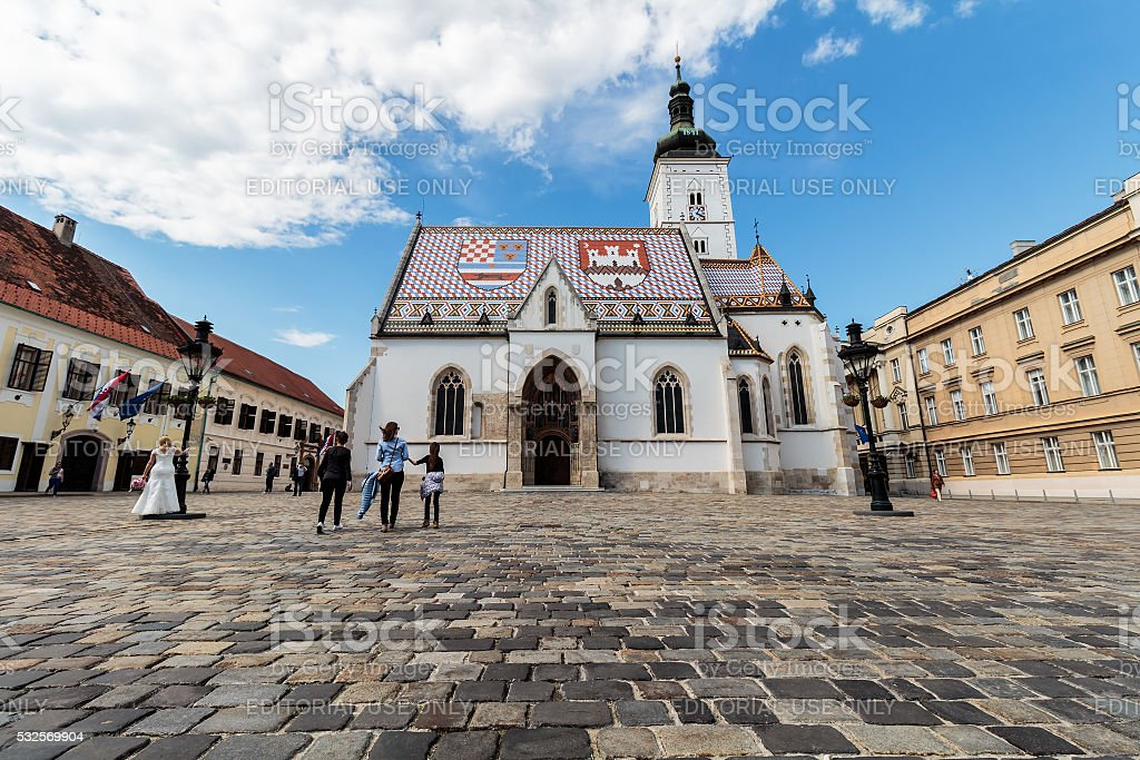 St' Mark's square and the Church of St. Mark stock photo