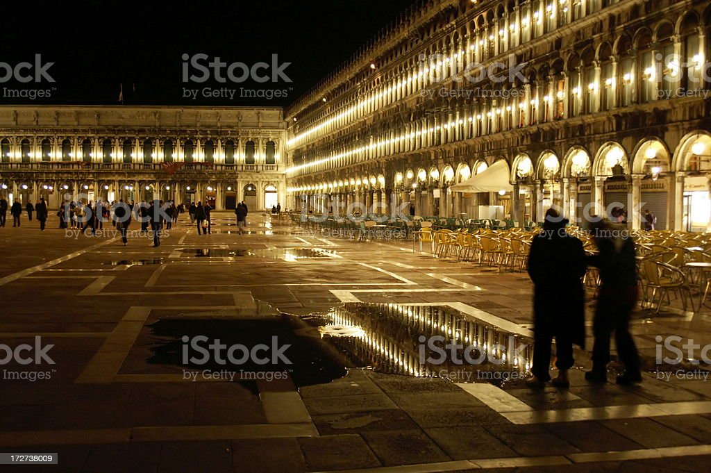 St. Mark's Square at Night with Water Level Rising royalty-free stock photo