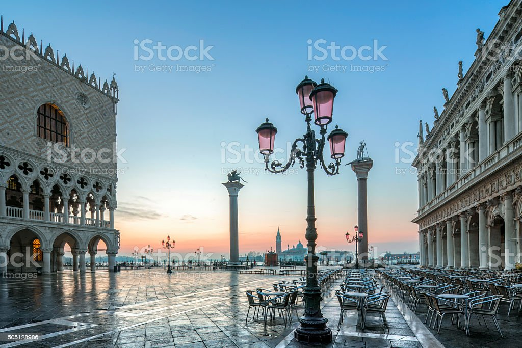 St. Mark's square in Venice during sunrise stock photo