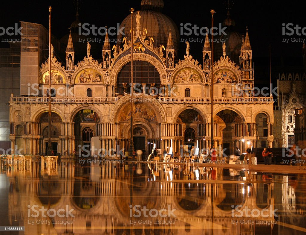 St. Mark's Square Venice At Night royalty-free stock photo