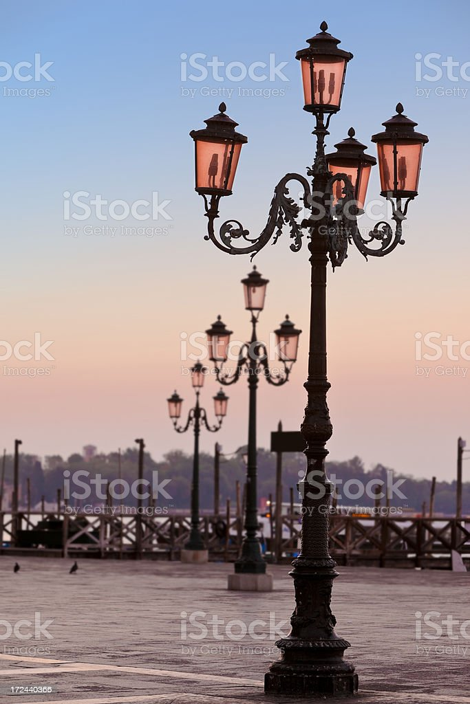 St Marks Square with lantern Venice Italy in the morning royalty-free stock photo