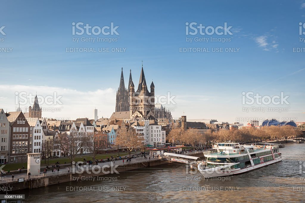 St. Martin Church And Dom In Cologne at River Rhine. stock photo