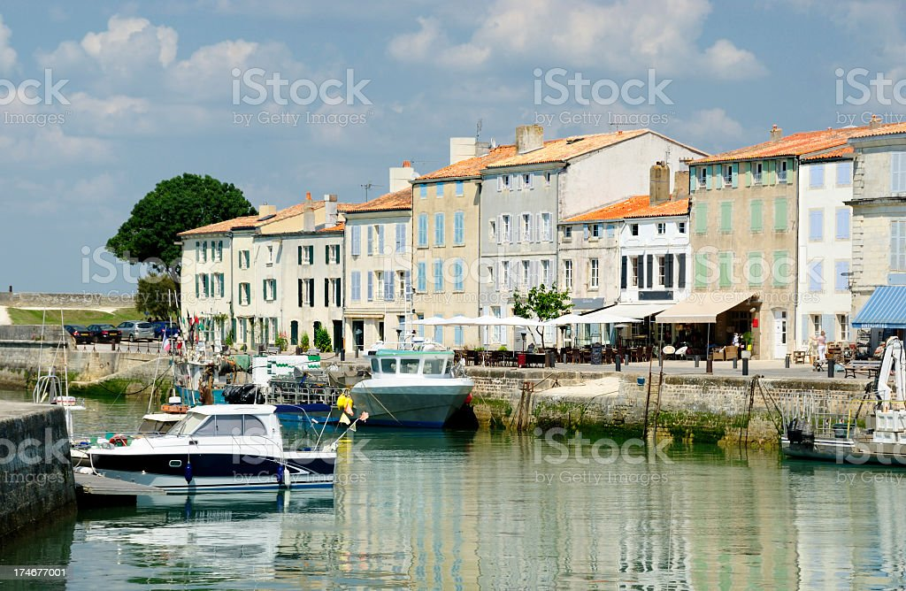 St Martin Harbor at Ile De Re, France stock photo