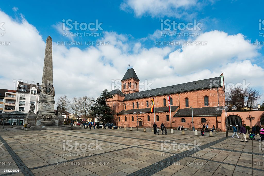 St Martins Church and obelisk in Worms in Germany stock photo