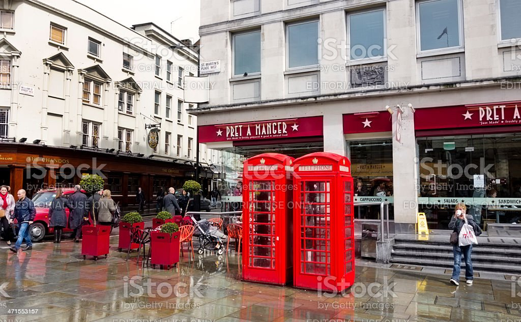 St Martin's Place, London, on a wet afternoon royalty-free stock photo