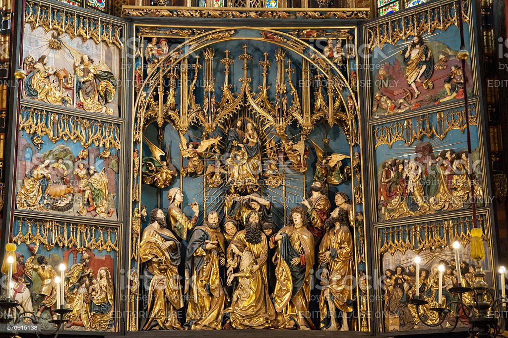 St Mary Altar in Krakow stock photo