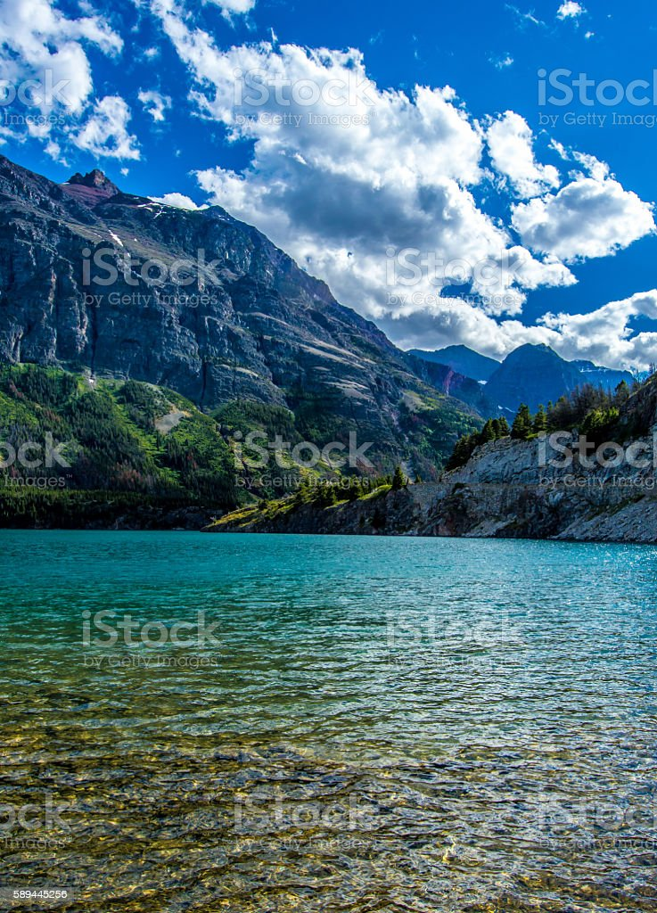 St Mary Lake in Glacier National Park stock photo