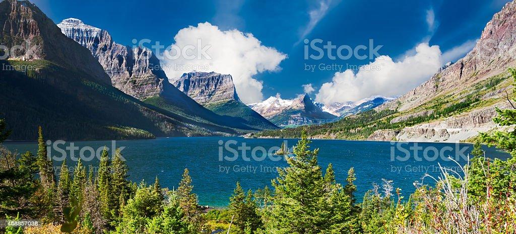 St. Mary Lake Panorama stock photo