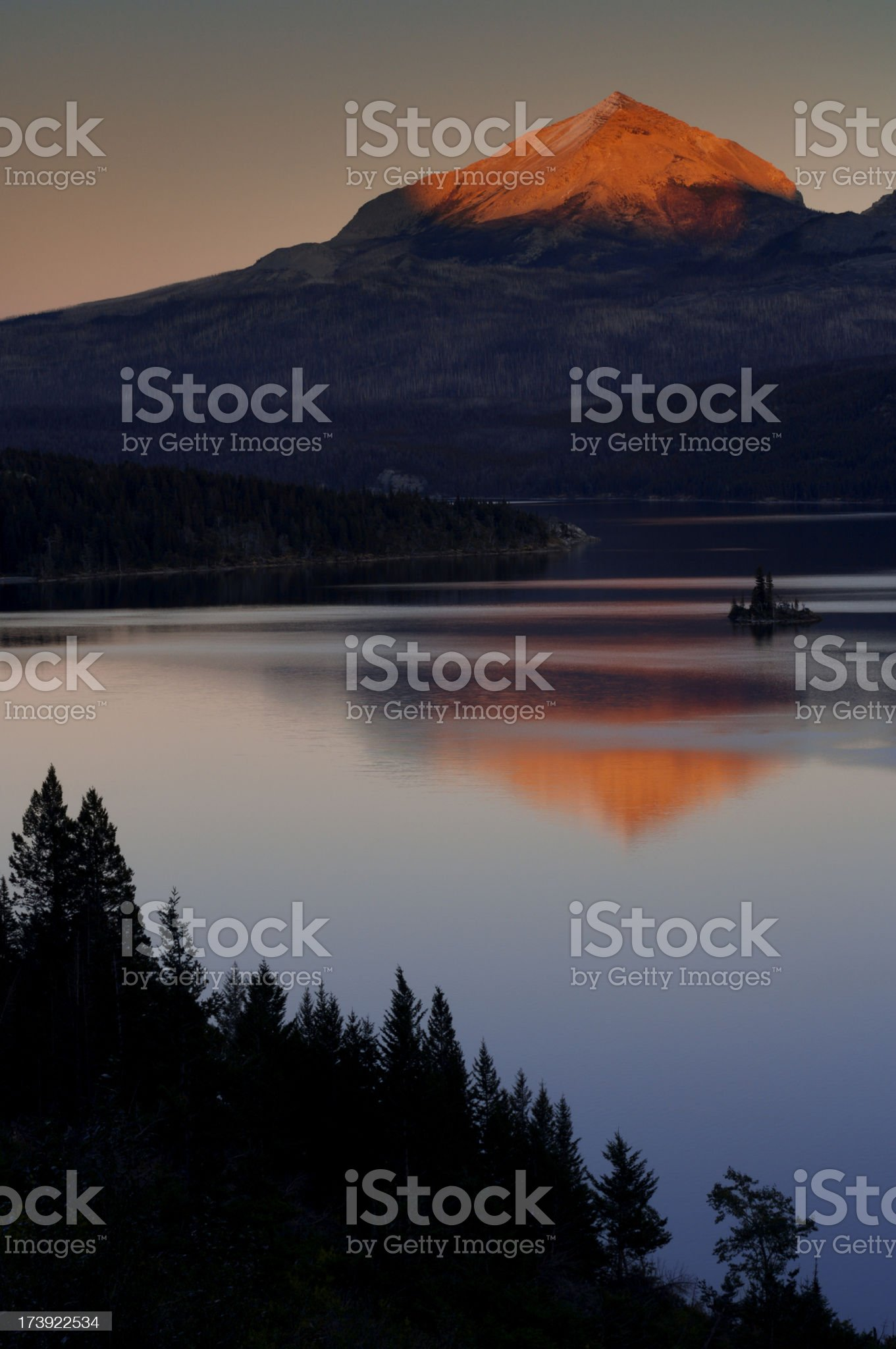 St Mary Lake sunset royalty-free stock photo