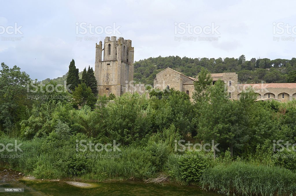 St. Mary of Lagrasse Abbey. France royalty-free stock photo